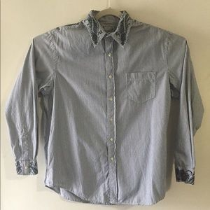 Lucky Brand stripe embroidered button up. Large